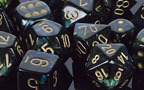 Scarab Jade / Gold 7 Dice Set - CHX27415