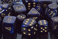 Scarab Royal Blue / Gold 7 Dice Set - CHX27427