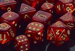 Scarab Scarlet / Gold 7 Dice Set - CHX27414