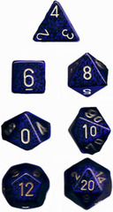 Golden Cobalt Speckled 7 Dice Set - CHX25337