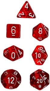 CHX23074 7pc Translucent Red w/White Dice Set