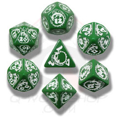 Green & White Dragon Dice set