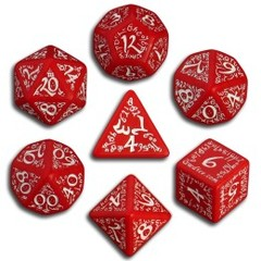 Red & White Elven 7 Dice set