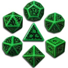 Green & Black Elven 7 Dice set