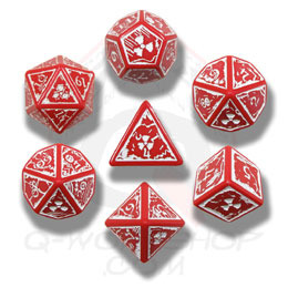 Red & White Nuke 7 Dice set - Accessories and Supplies