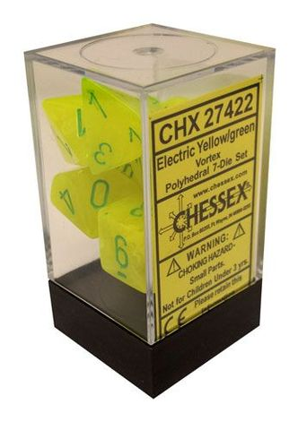 7 Electric Yellow/green vortex Polyhedral Dice Set - CHX27422