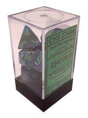 Lustrous Dark Blue w/green Polyhedral 7 Dice Set - CHX27496