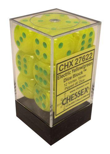 12 Electric Yellow w/green 16mm D6 Dice Block - CHX27622