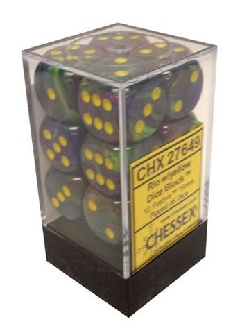12 Rio w/yellow 16mm D6 Dice Block - CHX27649