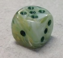 36 Marble Green w/darkgreen 12mm D6 Dice - CHX27809