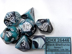 7 Black-Shell/white Gemini Polyhedral Dice Set - CHX26446