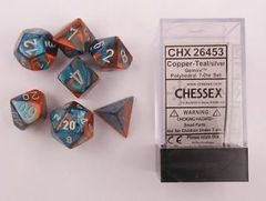 7 Copper-Teal w/silver Gemini Polyhedral Dice Set - CHX26453