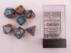 7 Copper-Teal w/silver Gemini Polyhedral Dice Set - CHX26453