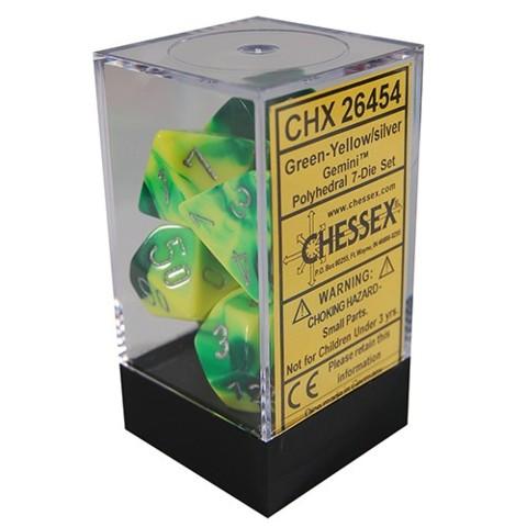 Gemini Green-Yellow/silver Polyhedral 7 Dice Set - CHX26454