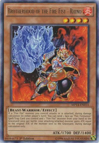 Brotherhood of the Fire Fist - Rhino - MP14-EN014 - Rare - 1st Edition