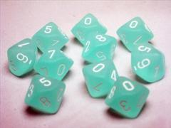Teal w/White d10 Set of Ten - CHX27205