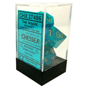7 Teal w/gold Borealis Polyhedral Dice Set - CHX27486
