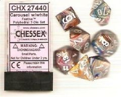 7-die Polyhedral Set - Festive Carousel with White - CHX27440