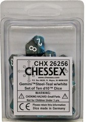10 Steel-Teal w/white Gemini D10 Dice Set - CHX26256