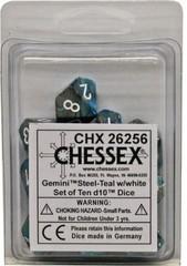 10 Steel-Teal w/white Gemini D10 Dice Set - CHX26256