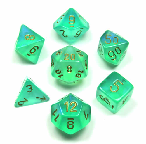 Borealis Light Green with Gold Set of 7 Dice - CHX27425