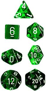7 die Polyhedral Translucent Green-Black w/White Dice Block - CHX23005