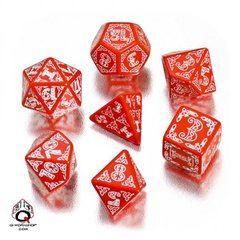 Red-white Celtic dice set