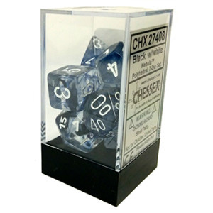 7 Black w/white Nebula Polyhedral Dice Set - CHX27408