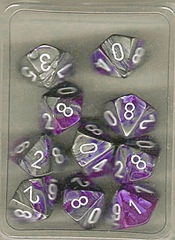 10 Purple-Steel w/White Gemini D10 Dice Set - CHX26232