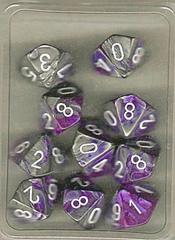 10 Purple-Steel w/White Gemini D10 Dice Set - CHX26232