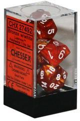 7 Bronze w/White Lustrous Polyhedral Dice Set - CHX27492