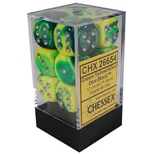 12 16mm Green-Yellow w/Silver Gemini D6 Dice Set - CHX26654