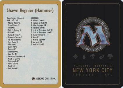 Decklist - Shawn Hammer Regnier - 1996