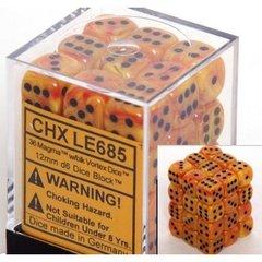 36 Magma / Black Vortex Dice 12mm D6 Dice Block - CHXLE685