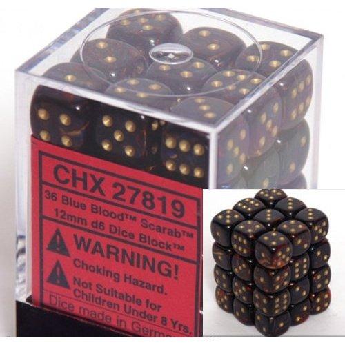 36 Blue Blood /gold Scarab 12mm D6 Dice Block - CHX27819