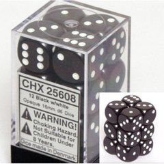 CHX 25608 - 12 Black w/ White Opaque 16mm d6 Dice