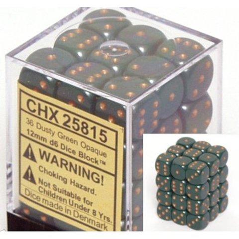 36 Dusty Green /copper Opaque 12mm D6 Dice Block - CHX25815
