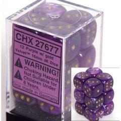 12 Purple w/gold Velvet 16mm D6 Dice Block - CHX27677