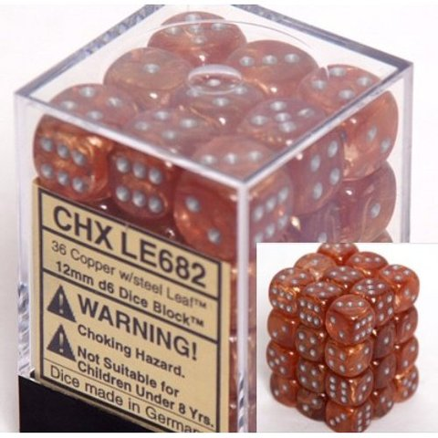 36 Copper /steel Leaf 12mm D6 Dice Block - CHXLE682