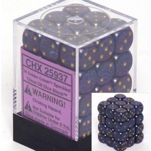 36 Golden Cobalt Speckled 12mm D6 Dice Block - CHX25937