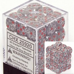 36 Granite Speckled 12mm D6 Dice Block - CHX25920