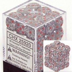 36 Speckled Granite 12mm D6 Dice Block - CHX25920