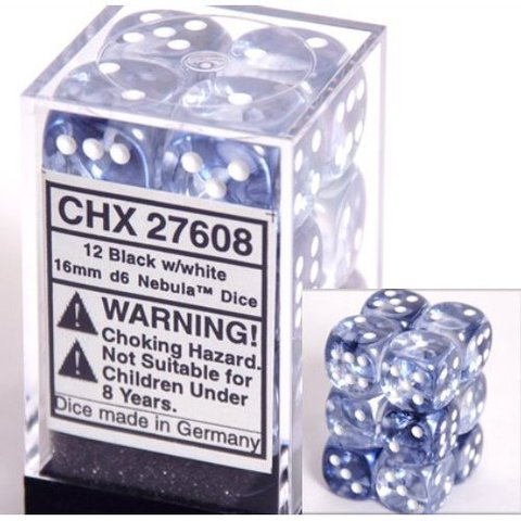 12 Black w/white 16mm D6 Nebula Dice Block - CHX27608