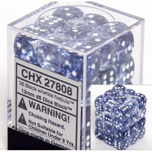 36 Black w/white Nebula 12mm D6 Dice Block - CHX27808