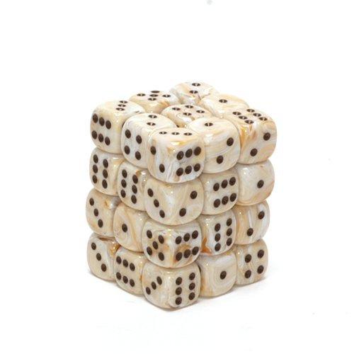 36 Ivory w/black Marble 12mm D6 Dice Block - CHX27802
