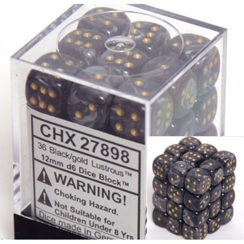 36 Black w/gold Lustrous 12mm D6 Dice Block - CHX27898