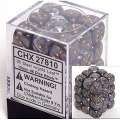 36 Steel w/gold Leaf 12mm D6 Dice Block - CHX27810