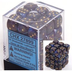 36 Shadow w/gold Lustrous 12mm D6 Dice Block - CHX27899