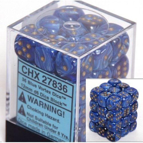 36 Blue Vortex Dice 12mm D6 Dice Block - CHX27836