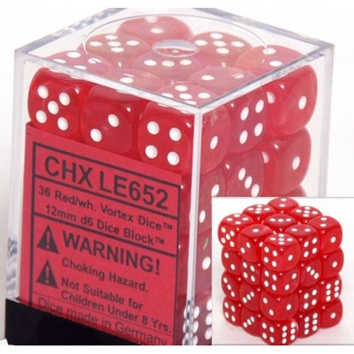 36 Red w/white Vortex Dice 12mm D6 Dice Block - CHXLE652